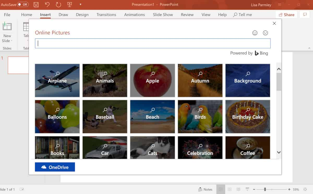 Screenshot of Bing image search within powerpoint.