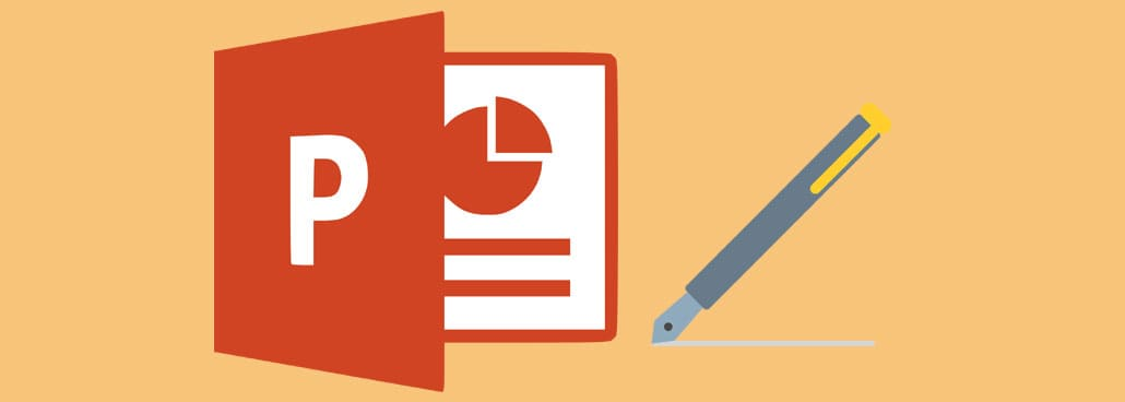Image with PowerPoint icon and pen icon.