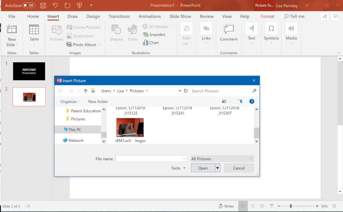 Screenshot of PowerPoint GIF selection.