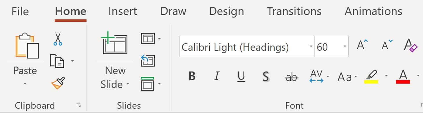 Screenshot of the font group from PowerPoint.