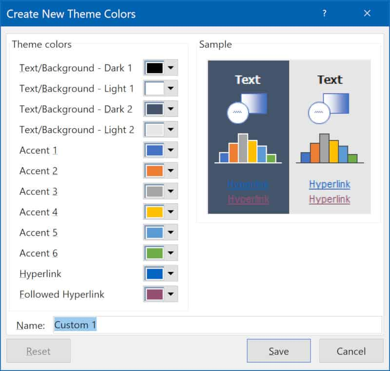 Screenshot of dialog box for creating new theme colors.