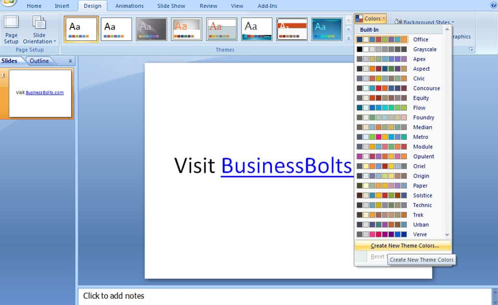 Screenshot of PowerPoint 2007 hyperlink design color theme.