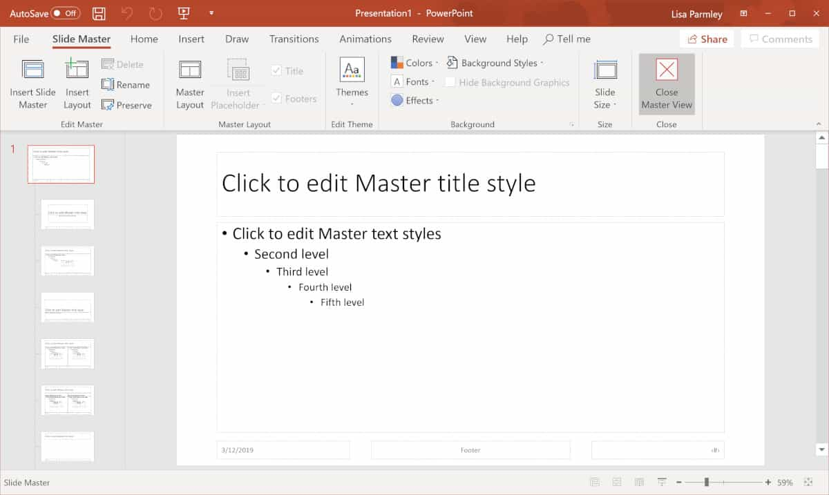 Screenshot of how to close out slide master.