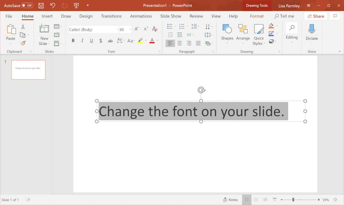 Screenshot showing how to change the font on a PowerPoint slide.
