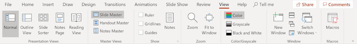 Screenshot of PowerPoint view tab with slide master.