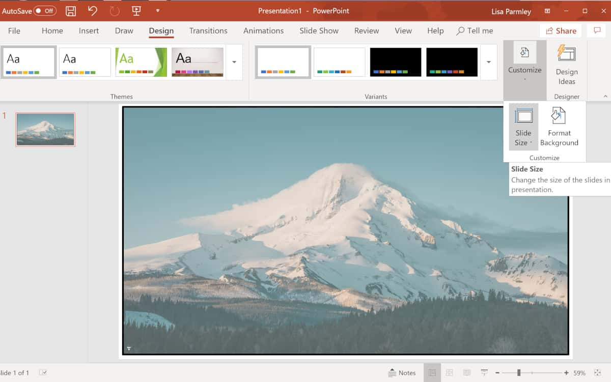Screenshot of where to find the customize slide size button.