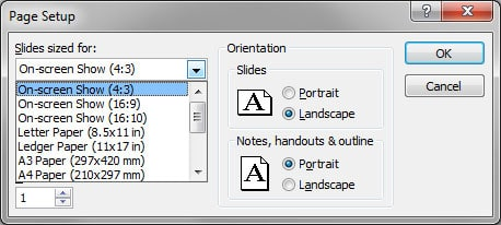 Screenshot of older powerpoint page setup.