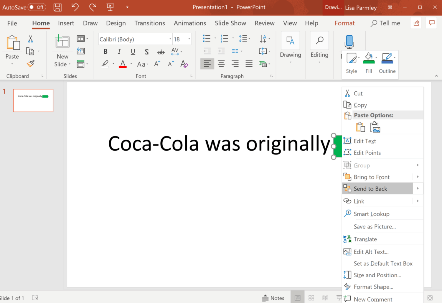 another image of how that looks in PowerPoint: