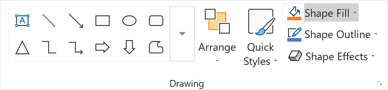 Home tab,in the Drawing group, click on Shape