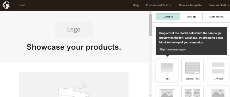 Screenshot of Mailchimp email template.
