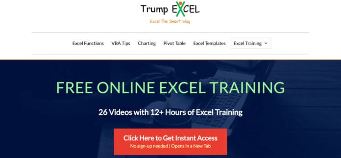 Screenshot of Trump Excel home page.