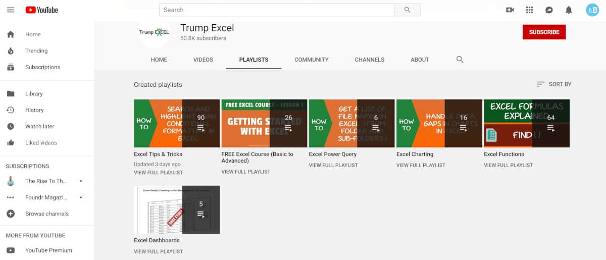 Screenshot of Trump Excel Video Playlist.