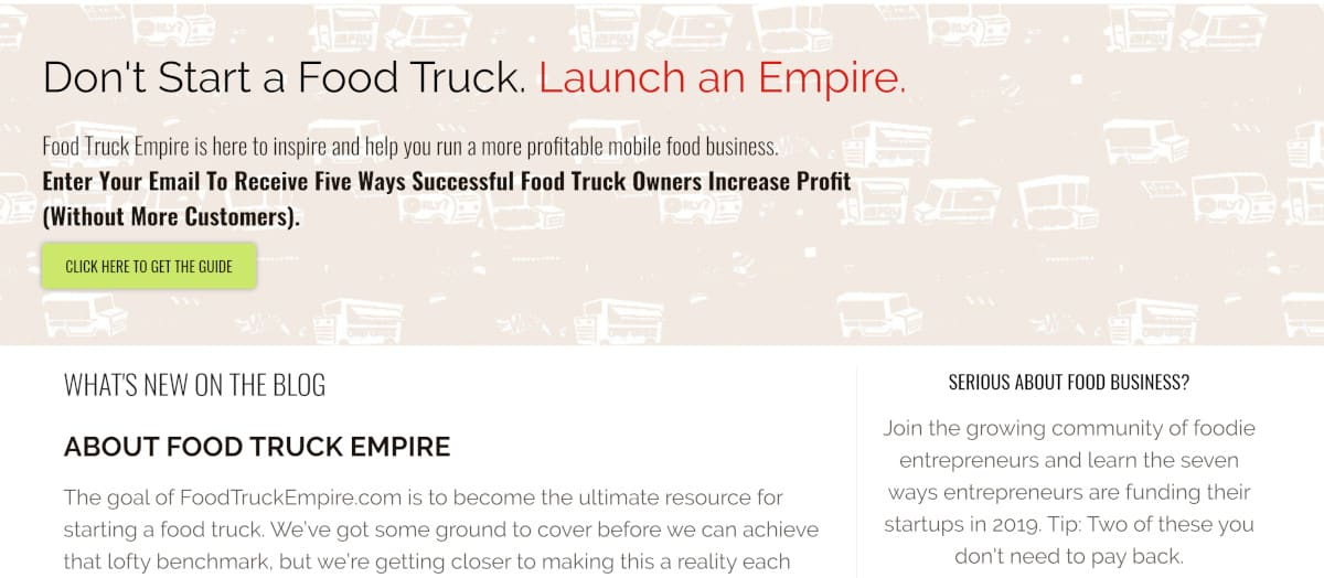 Screenshot of Food Truck Academy Home Page