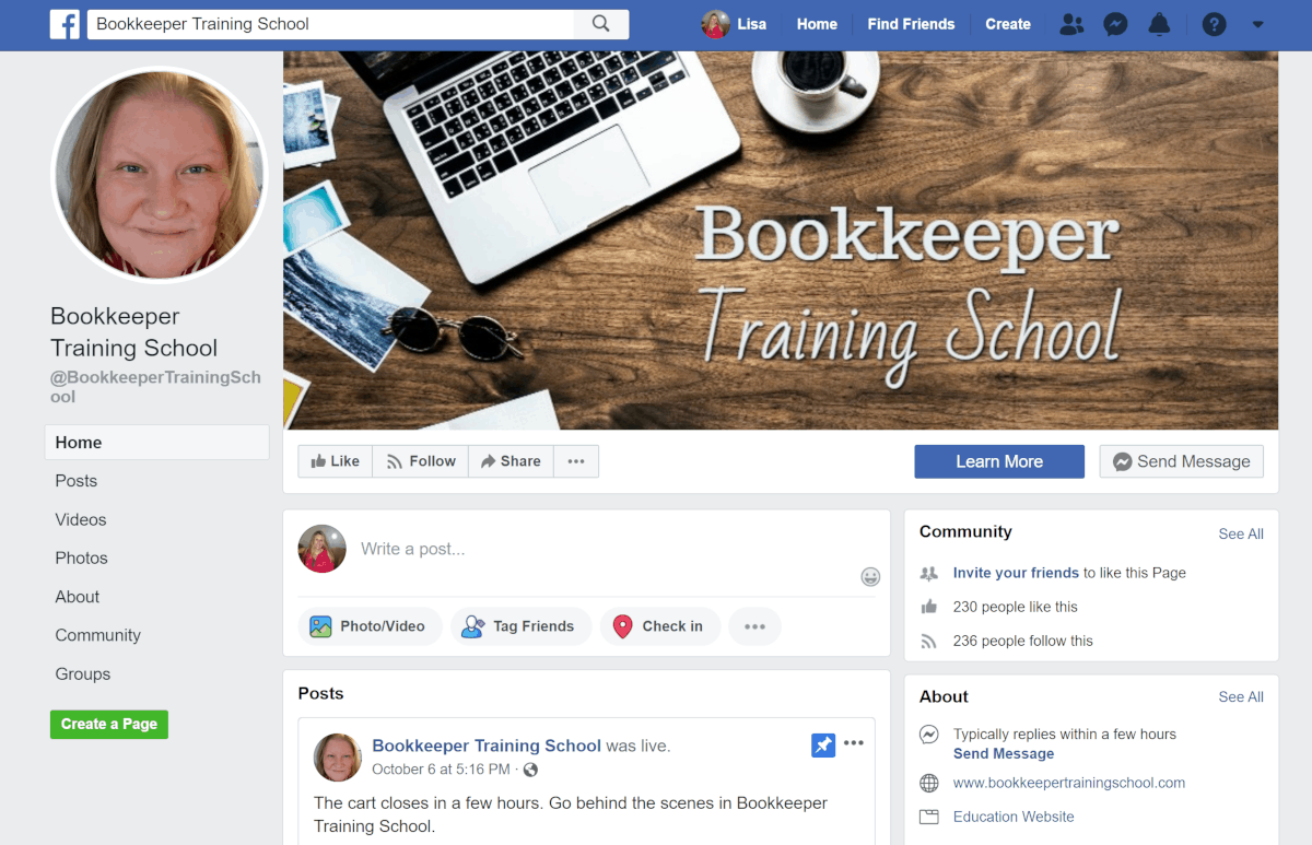Bookkeeper Training School Facebook