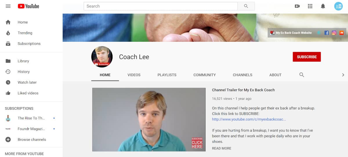 Coach Lee YouTube Channel