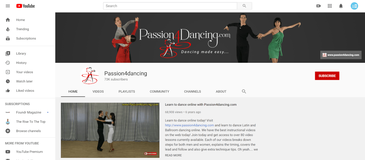 Passion4dancing.com Youtube