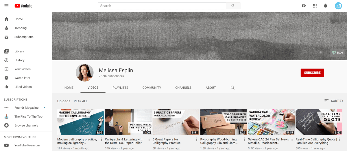 calligraphy.org youtube