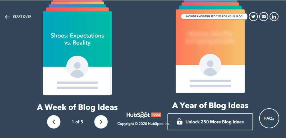 showing the details of the hubspot ideas generator