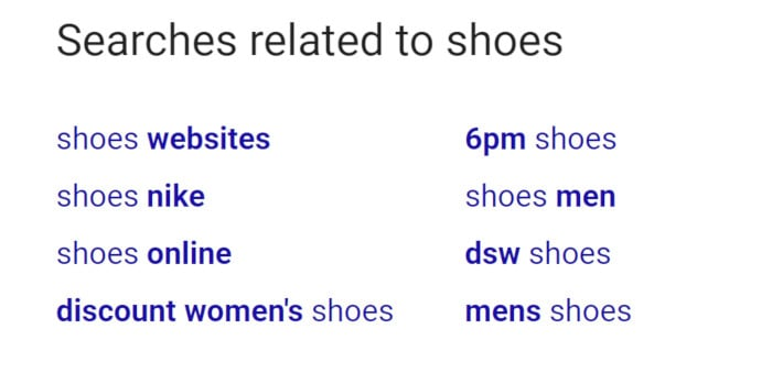 screenshot of google related at the bottom of the serps
