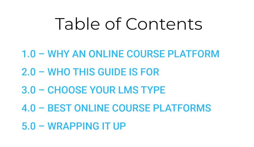 screenshot showing a table of contents from coursemethod.com