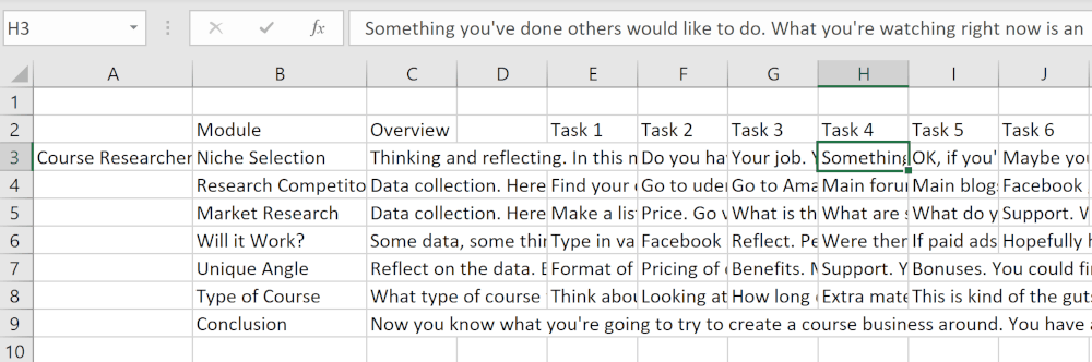 excel image showing how I use excel to create a course outline