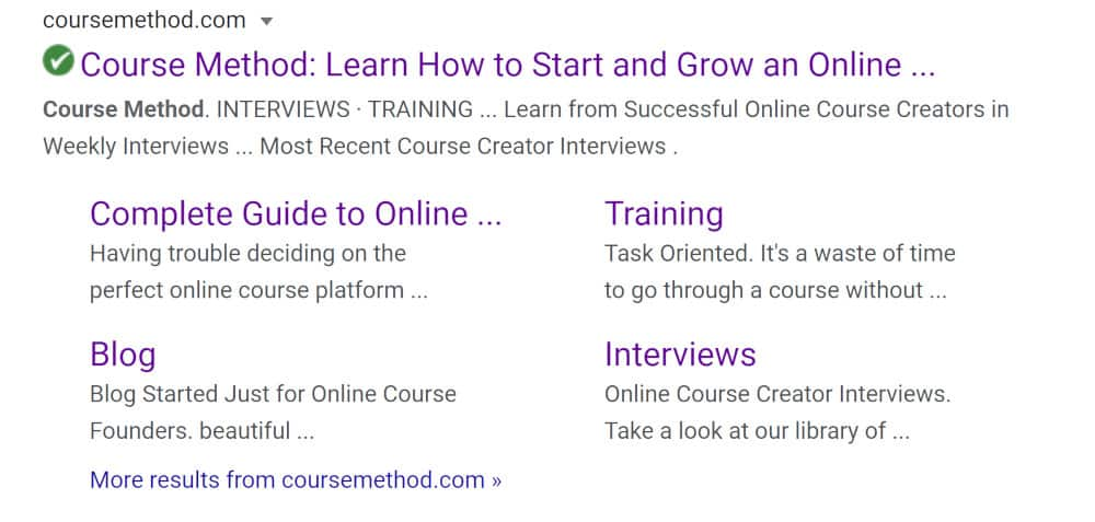 screenshot of how coursemethod.com looks in the serps