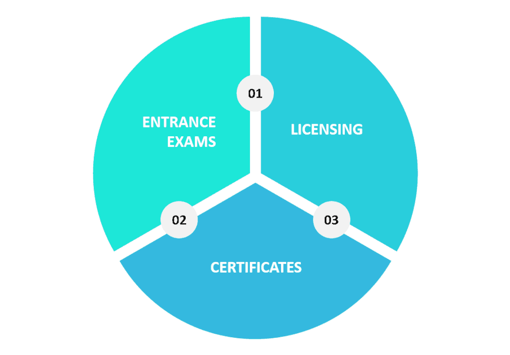 Graphic showing online course ideas within the certification/licensing area.