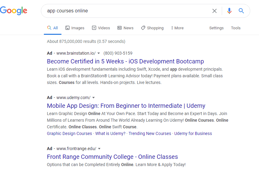 screenshot showing google search for app courses.