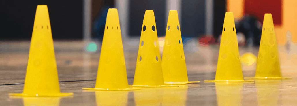 Yellow cones lined up.