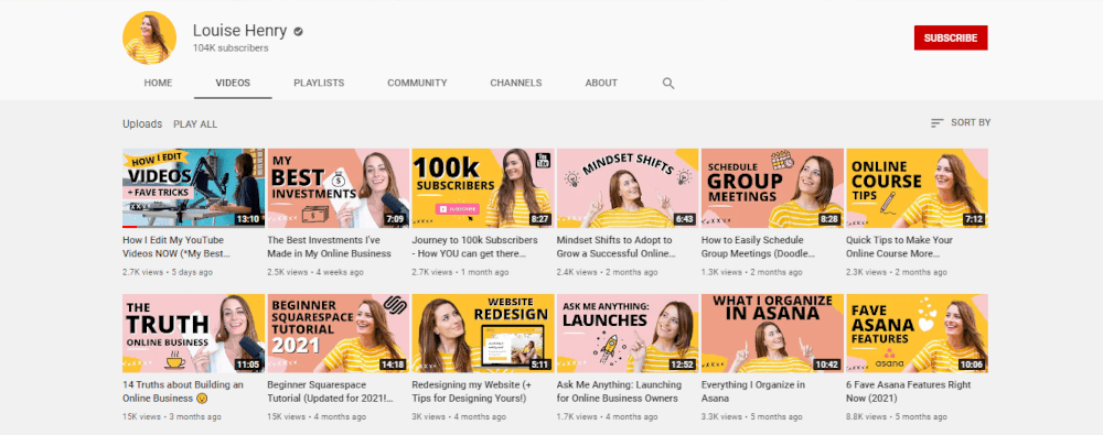 Louise Henry's youtube