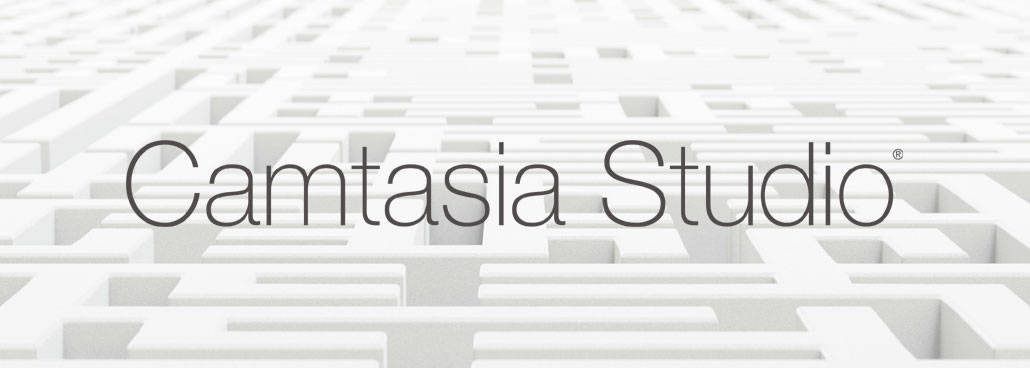 Camtasia logo with maze behind it
