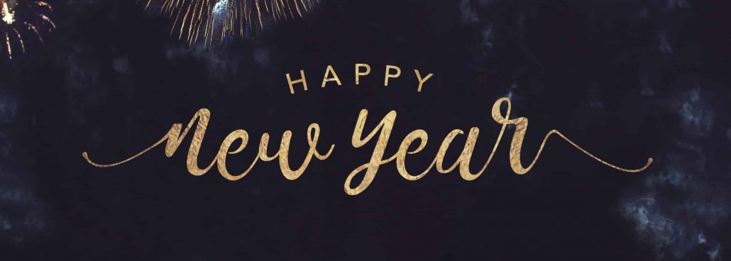 Happy New Year Celebration Text with Festive Gold Fireworks Collage in Night Sky