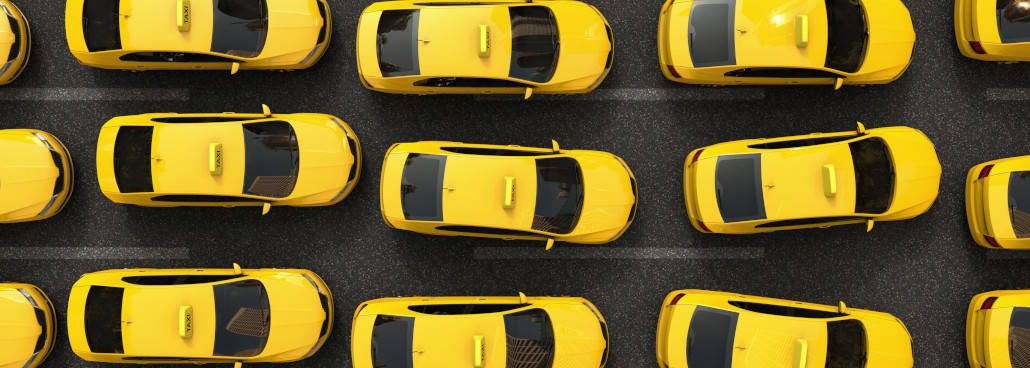 lots of taxi cabs